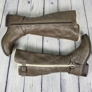 G BY GUESS | sherpa tall heeled side zip boot
